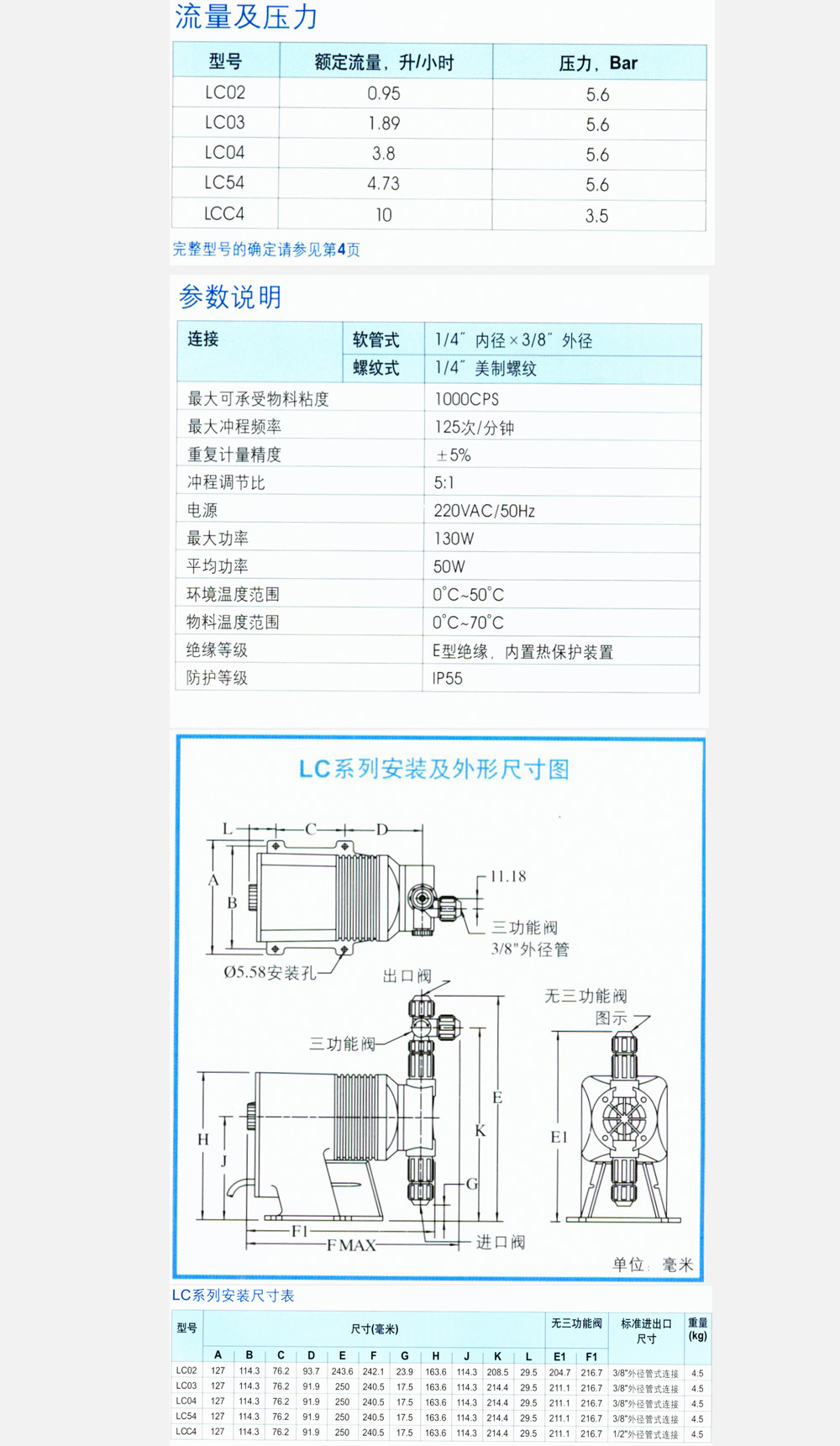 ●手动:单调节冲程 ●流量0.95-10升/小时,压力3.5-5.6 Bar ●自动:可选脉冲信号,液位信号接收功能 ●5种机型